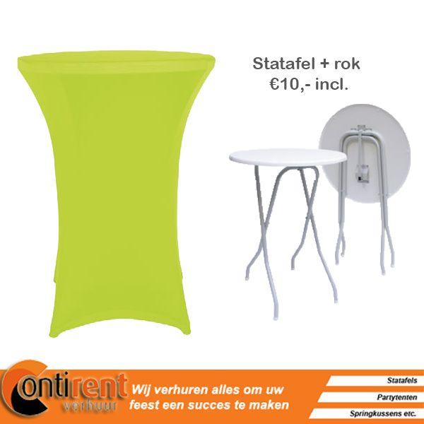 Mooi groen is niet lelijk! De lime groene kleur kan perfect passen bij je bedrijfskleuren. Wij hebben bijna alle kleuren in ons assortiment zitten!  http://contirentverhuur.nl/index.php/party-benodigdheden/tafel-linnen/statafelrok-stretch-lime-groen.html