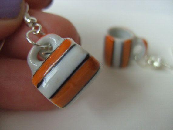White and orange, stripes, ceramic, tea cups, mugs, earrings, love hearts, coffee, tea, by NewellsJewels on etsy