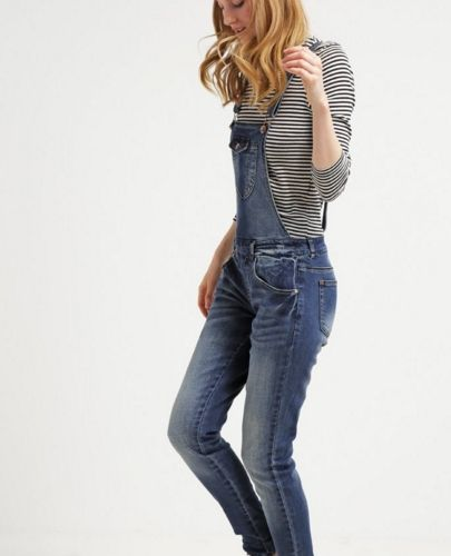 ONLY ONLNEW ciemne jeansowe Ogrodniczki medium blue denim