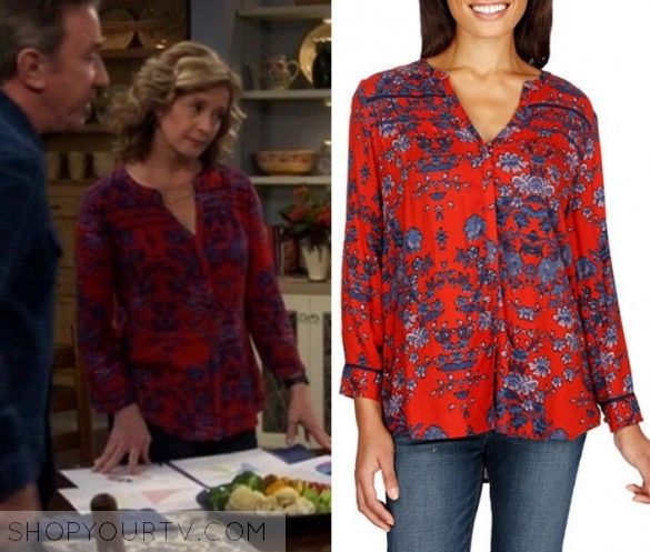 """Last Man Standing: Season 6 Episode 16 Vanessa's Red Printed Blouse 
