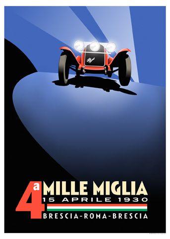 Alfa Romeo - Mille Miglia 1930 affiche