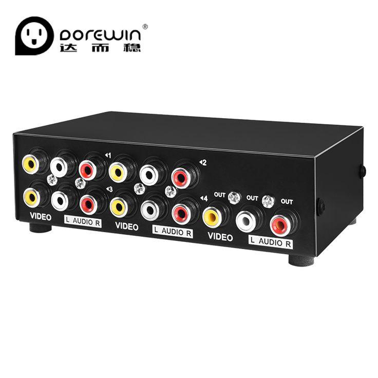 Dorewin interruptor 4 en 1 rca av audio video 4 puertos switcher Caja convertidora RCA Adaptador convertir a DVD HD TV AV VCD HIFI