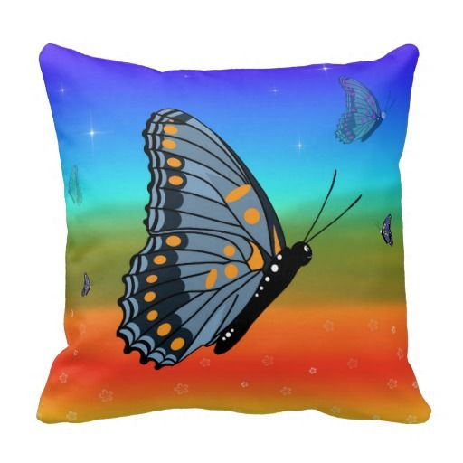 #butterfly #KidsPillow #butterflies Colourful Kids Butterfly Throw Pillow to bright up a child's bedroom. From $29.95