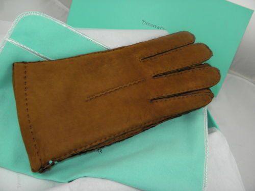 TIFFANY&CO SUEDE LEATHER CAMEL GLOVES SZ 9 BRAND NEW IN A BOX
