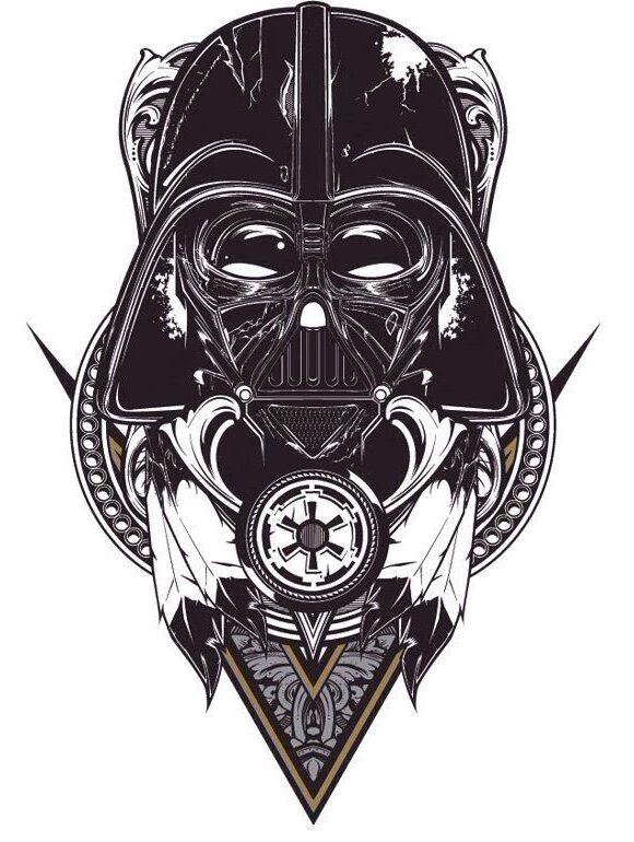 Blackwork Vader tattoo sketch