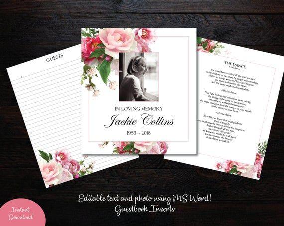 Pink Peony Guest Book Template Diy Guest Book Funeral Etsy Diy Guest Book Funeral Guest Book Guest Book