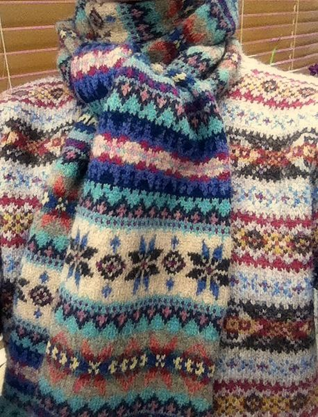 Specially for the freezing spring weather - a Fair Isle woolly jumper and scarf. Scarf: Ralph Lauren. Jumper: Drake's