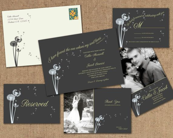 Beautiful Dandelion wedding invitation, save the date, thank you, RSVP and reserved card