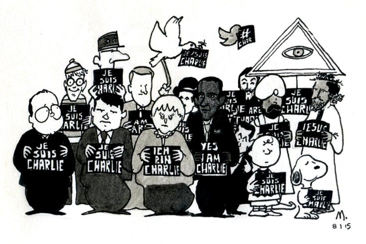Mathilde Tournier, illustratrice française -- I can't ID everyone in this picture, but besides, Hollande, Merkel, Obama, Jesus and Mohammed, I see Charlie Brown and Chaplin, the Twitter bird, Anonymous, and Where's Waldo (who is known as Cherchez Charlie in France I believe).  And I haven't identified a few.