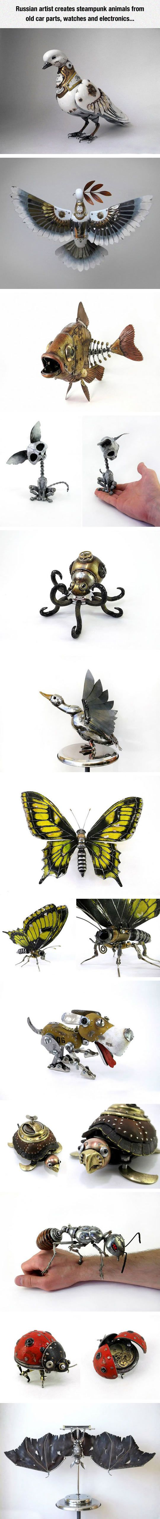 3D Art. Steampunk. Animals. Car Parts. Butterfly. Dog. Lady Bug. Cat. Bird. Sculpture. Metal. Watches. Electronics.