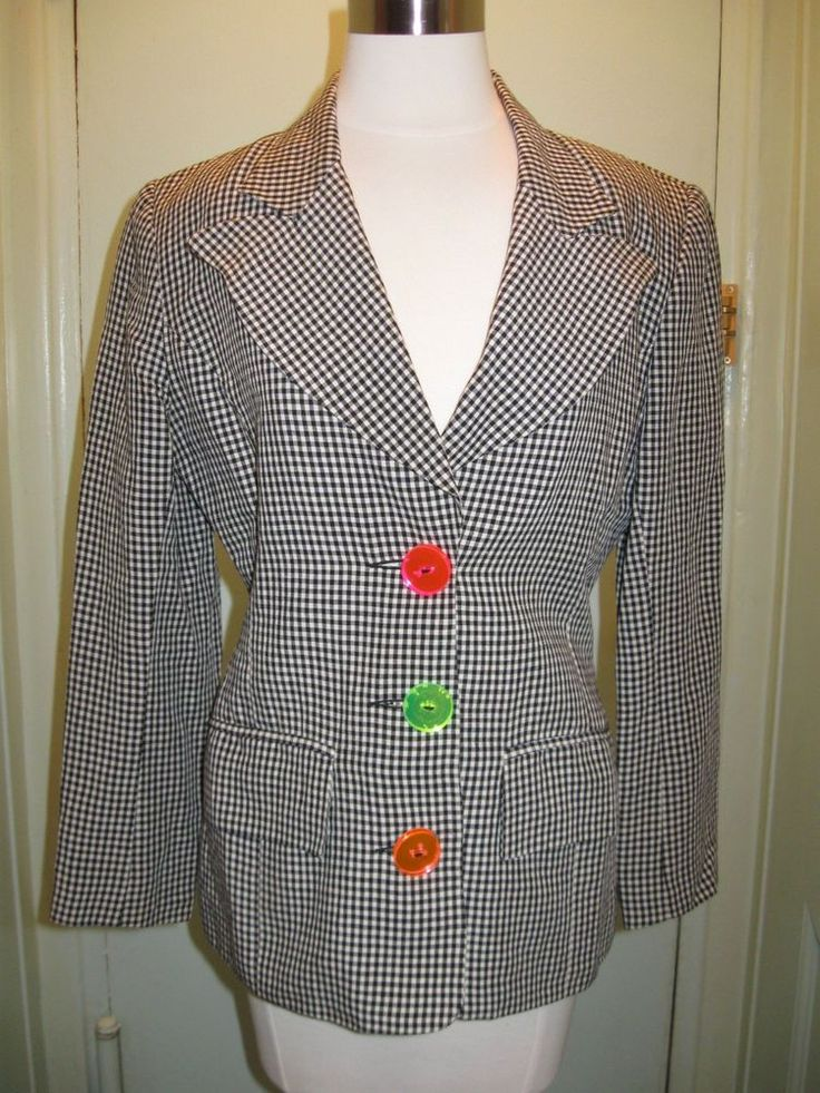 Rare Arabella Pollen Linen Houndstooth Jacket 8 US 10 UK Fave Designer of Princess Di #ArabellaPollen #Blazer #BritishDesigners #SloaneRangers #BritishFashion #Royalty #KateMiddleton