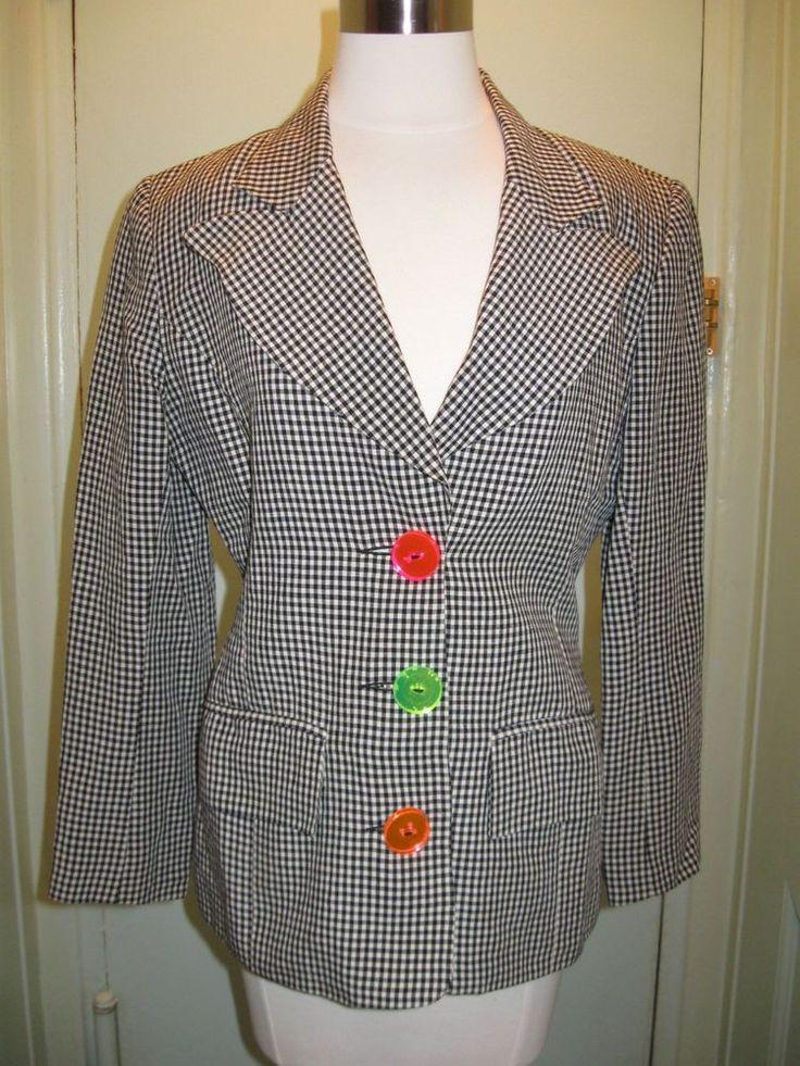 Rare Arabella Pollen Linen Houndstooth Jacket 8 US 10 UK Fave Designer of Princess Di #ArabellaPollen #Blazer #BritishDesigners #SloaneRangers #BritishFashion #Royalty #KateMiddleton