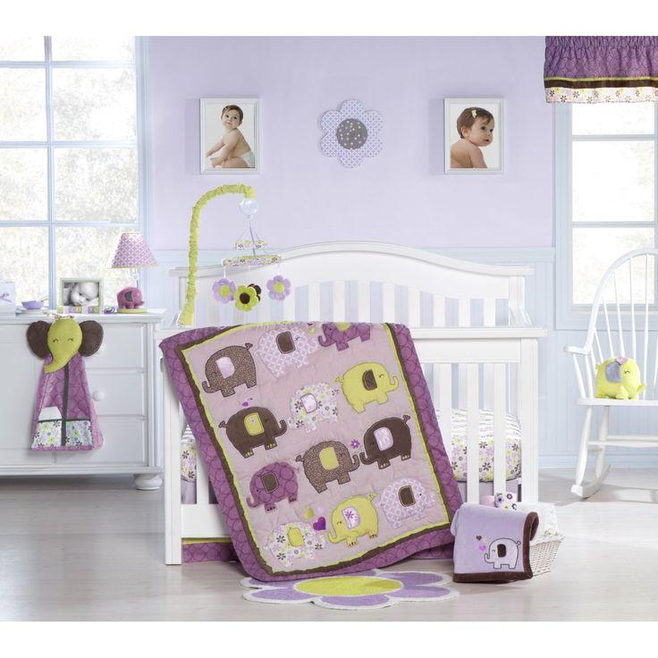 Purple Green And Brown Elephants Nursery Ideas