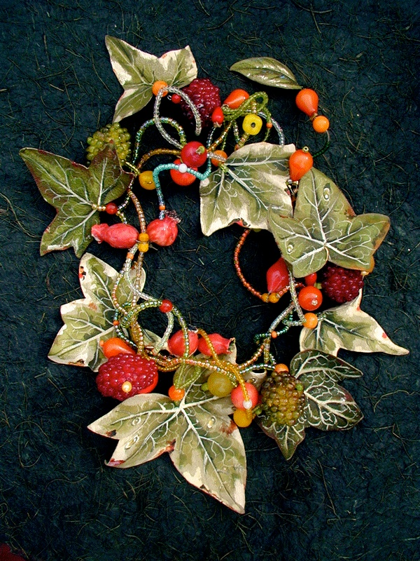 VINE AND BERRIES, necklace. painted leather, porcelain, various beads