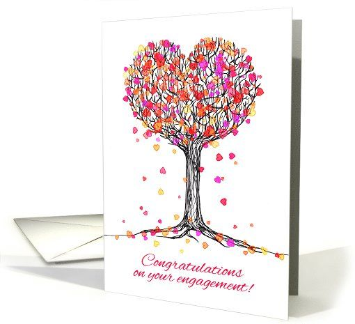 Congratulations on your engagement! Cute heart tree ...