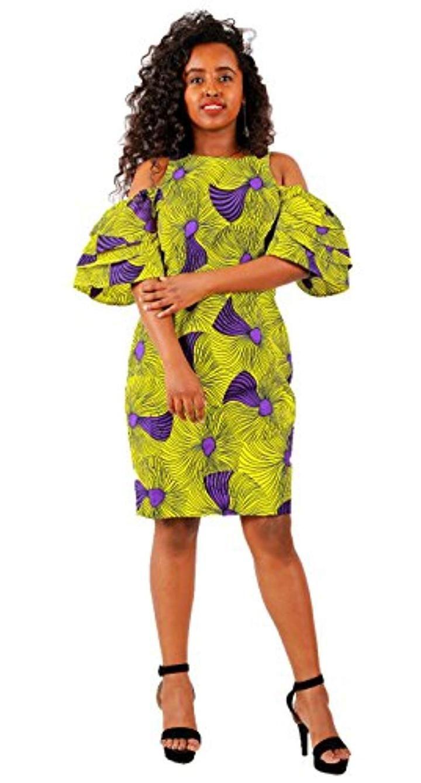 5cba3d51855 FANS FACE Women African Print Sexy Off Shoulder Ruffles Puff Sleeve Tube  Dress Casual Wear