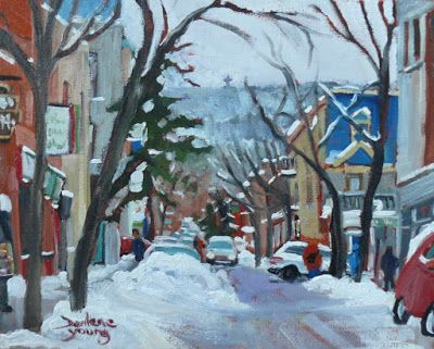 Darlene Young a Painting a Day: 1032 Montreal Scene, Le Plateau, 8x10, oil on boar...