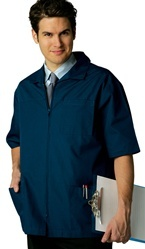 Short Sleeve Scrub Jacket by Adar Medical Scrubs. Short sleeved front zippered office jacket features front yoke, two patch pockets and breast pocket with pen divider. Back details include a narrow midriff and a couple of crisp pleats. #scrubs.com