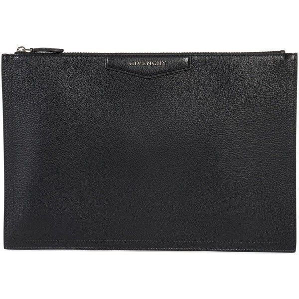 Givenchy Large Antigona Black Pouch ($599) ❤ liked on Polyvore featuring bags, handbags, clutches, black, women, leather zipper pouch, leather handbags, purse clutches, man pouch bag and givenchy handbags