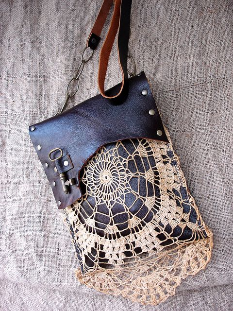 so.. I have doilies, leather, keys & chains but do I have the skill needed to gather them together and make myself a bag I wonder?  Leather Festival Bag w/Vintage Lace & Antique Key : Dreamcatcher by UrbanHeirlooms, via Flickr