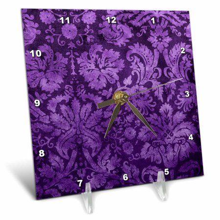 3dRose Decorative Vintage Floral Wallpaper Purple, Desk Clock, 6 by 6-inch