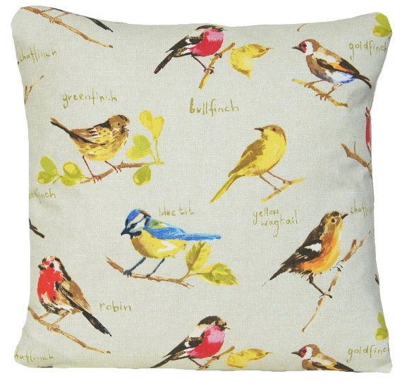 Birds Cushion Cover Robin Throw Pillow by CoralHomeAccessories