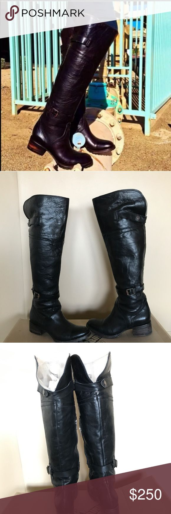 Freebird Quebec black boots  sz 8 Wore them twice, perfect conditions. Knee-high, wrinkled leather, rusted hardware accents the straps. Exposed side zip. Stacked heel and lug sole. Freebird by Steven Shoes Over the Knee Boots