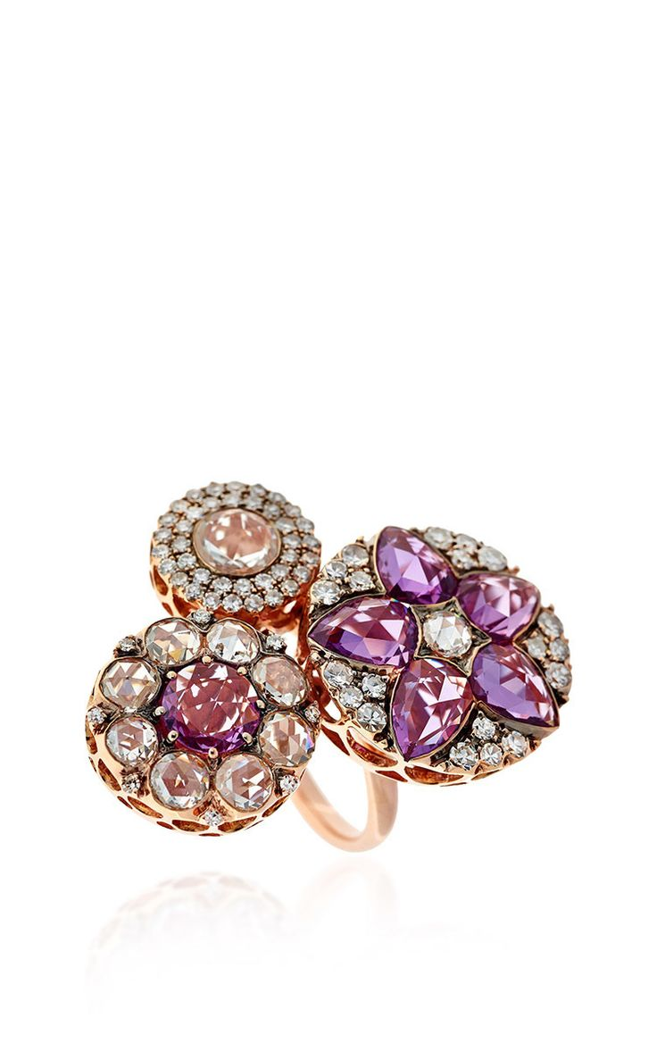 Beirut Collection Diamond and Pink Sapphire Ring by Selim Mouzannar for Preorder on Moda Operandi