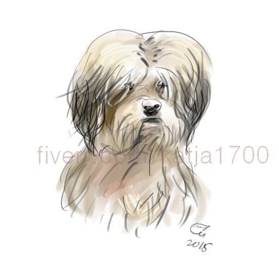 Digital sketch pet portraits, dog portrait from your pet...