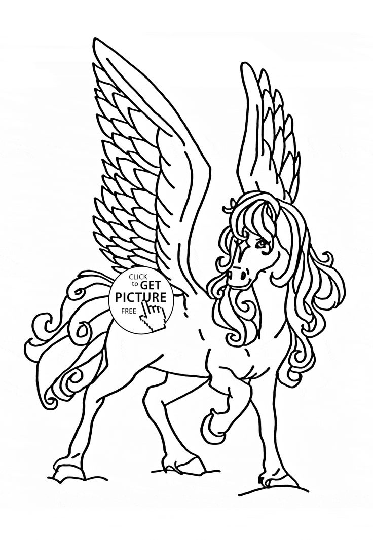 Flying Horse Coloring Page For Kids Animal Pages Printables Free