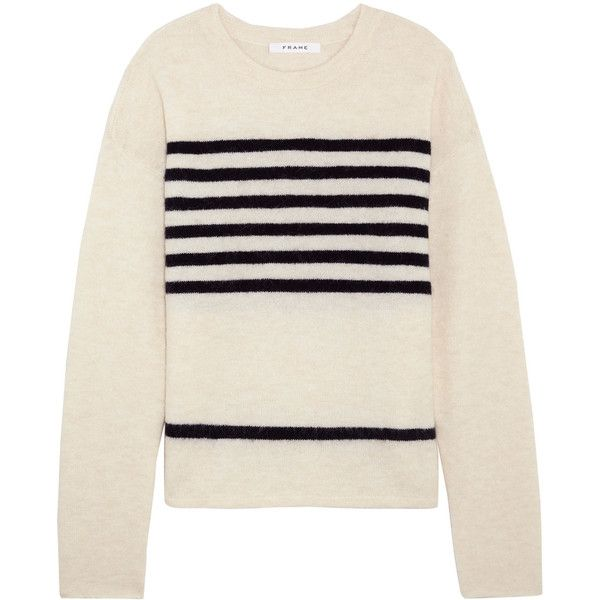 FRAME Striped stretch-knit sweater (€440) ❤ liked on Polyvore featuring tops, sweaters, white, white slouchy sweater, slouchy tops, slouch sweater, white striped top and breton stripe top