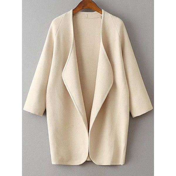 SheIn(sheinside) Beige Draped Collar Raglan Sleeve Long Cardigan (€33) ❤ liked on Polyvore featuring tops, cardigans, beige, raglan sleeve cardigan, pink cardigan, raglan top, long drape cardigan and beige cardigan