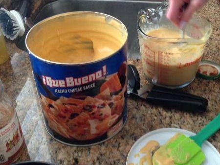 Making nacho cheese fondue