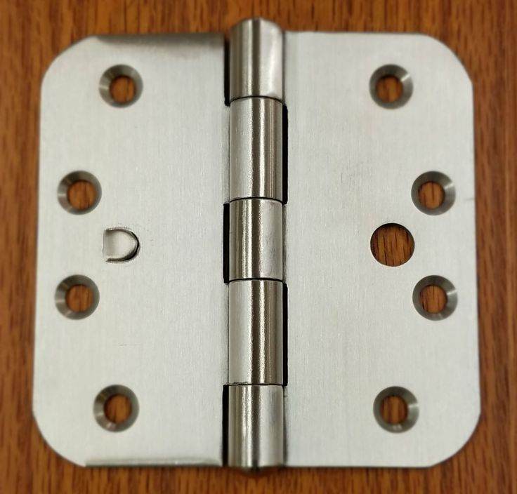 """Stainless Steel Hinges with Security Tab - 4"""" x 4"""" Plain Bearing Hinge with 5/8"""" Radius Corners - Arch Hole Pattern - 2 Pack"""