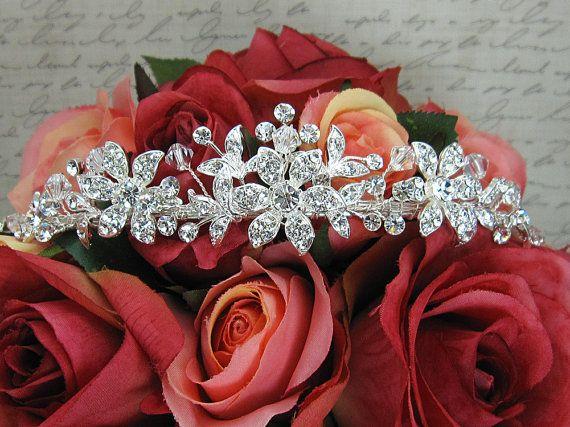 Tocado de tiara de Novia de cristal Swarovski, tiara de la boda, tocados de novia, tiara de diamantes de imitación, tiara de cristal, tiara nupcial de cristal 210713713