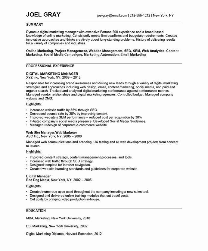 Digital Marketing Resume Sample Inspirational Digital Marketing Manager Free Resume Samples Marketing Resume Digital Marketing Manager Digital Marketing