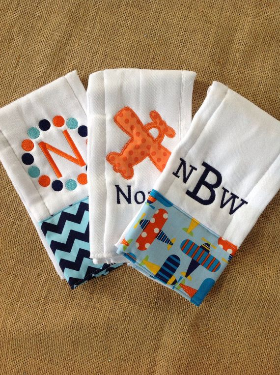 Set of 3 Personalized Burp Cloths - Diaper Cloths - Baby Boy - Monogrammed - Gift Set - Chevron - Airplane on Etsy, $30.00