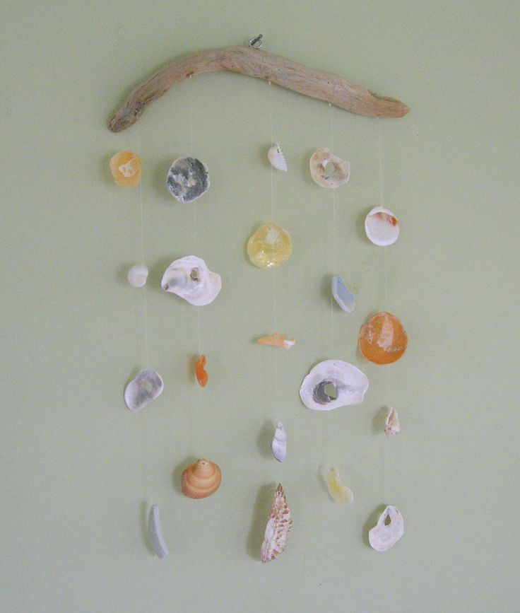 beach crafts sea sells and drift wood | Beach/Sea Shell Windchime/Suncatcher on Driftwood