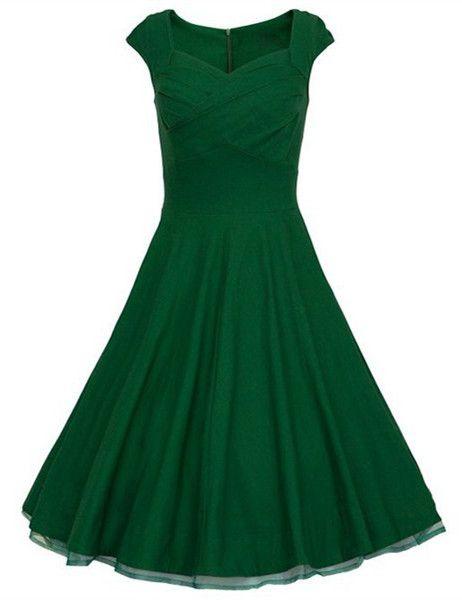 Vintage Sweetheart Neck Pure Color Sleeveless Dress