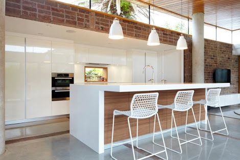white benchtop island with.timber back - Google Search