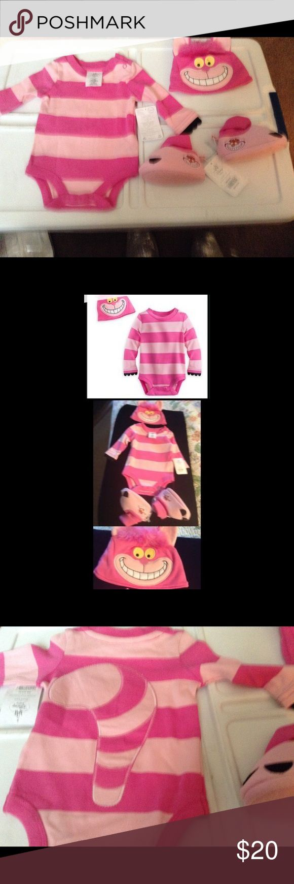 Halloween NWT Alice Cheshire Cat Costume &shoes 3m Disney StoreAuthentic! NWT Alice in Wonderland Cheshire Cat Baby Costume   & shoes Sz 0-3 months  $35  * Includes striped bodysuit •Embroidered Cheshire Cat features * Soft 3-D ears * Faux fur hair  * Embroidered tail on bodysuit back * Elastic neck and cuff * Two snaps at neck * Single row of snaps at leg  * Felt paws attached at sleeve *  Cheshire Cat Costume Shoes Baby never got to wear it from a smoke and pet free home  *   * Disney…