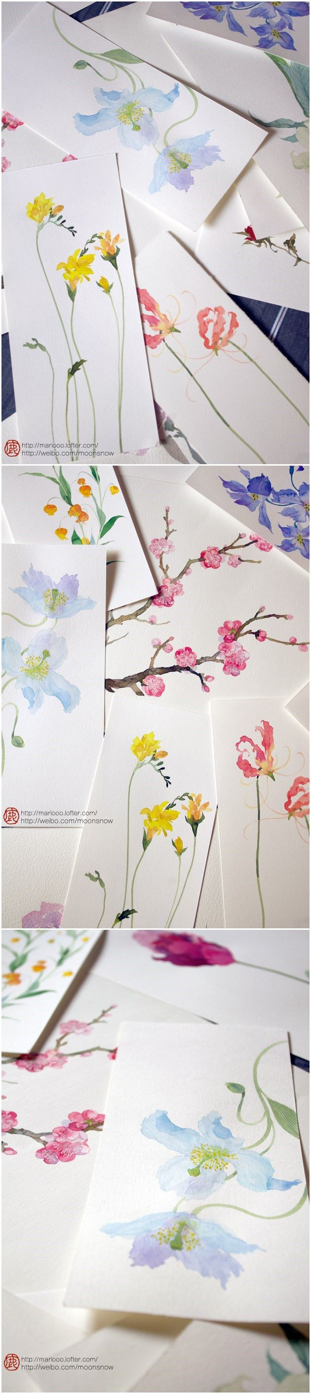 beautiful watercolor painting by 鹿菏 Could bring in some books/ magazines to use as inspiration?