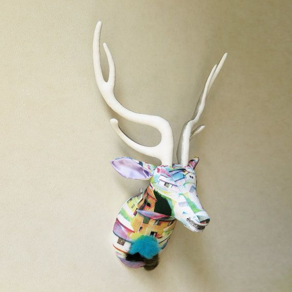 Original illustration fabric deer head  faux by FabricTrophy