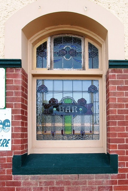 Window of Doodle Cooma Arms Hotel, Henty, NSW Australia