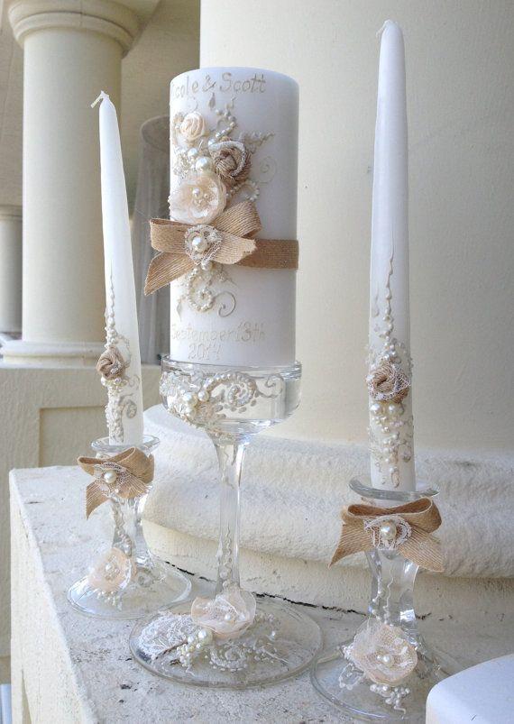 Set de vela de la unidad de novia Chic rústico 3 por PureBeautyArt