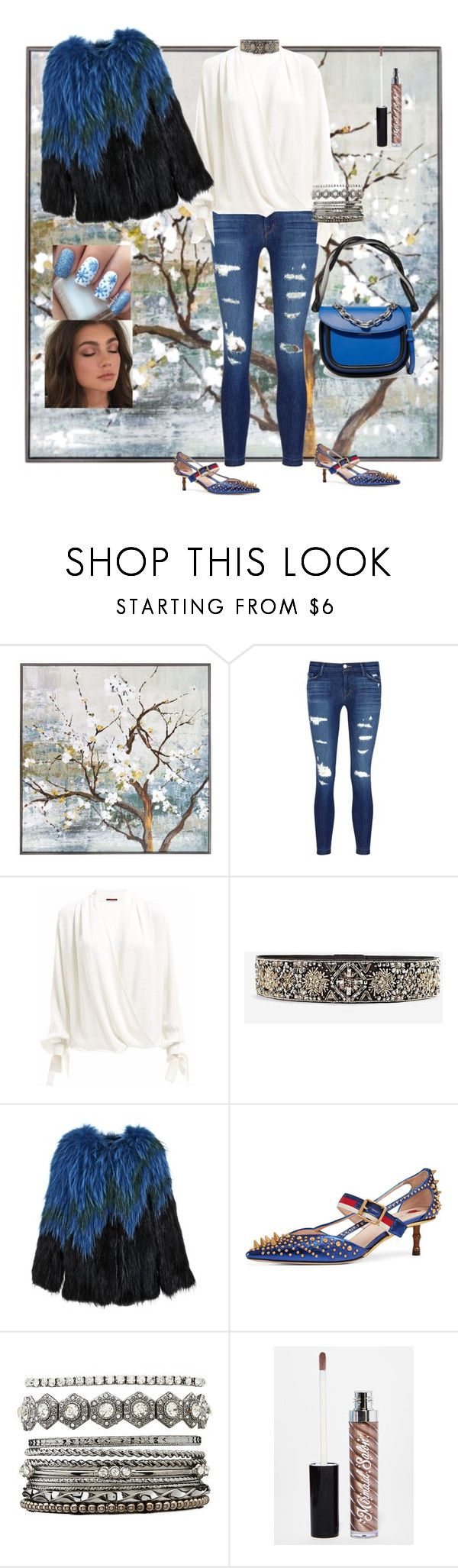 """💙🌺"" by zzhys ❤ liked on Polyvore featuring New View, J Brand, White House Black Market, Gucci, Charlotte Russe, Mermaid Salon and Marni"