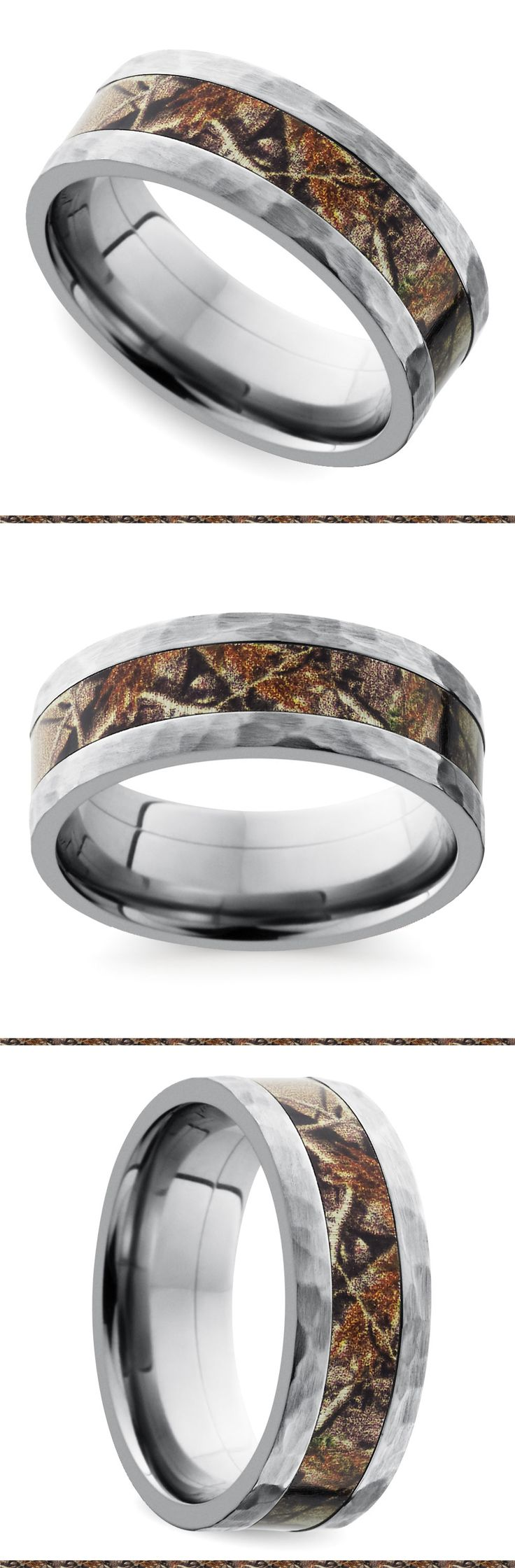 This flat 6 mm band features a Realtree camouflage inlay on a titanium base with hammered edges. Proudly made in the USA and comfort fit.
