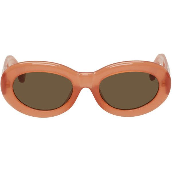 Dries Van Noten Orange Linda Farrow Edition Oval Sunglasses ($345) ❤ liked on Polyvore featuring accessories, eyewear, sunglasses, glasses, orange, dries van noten, dries van noten sunglasses, orange glasses, uv protection glasses and dries van noten glasses