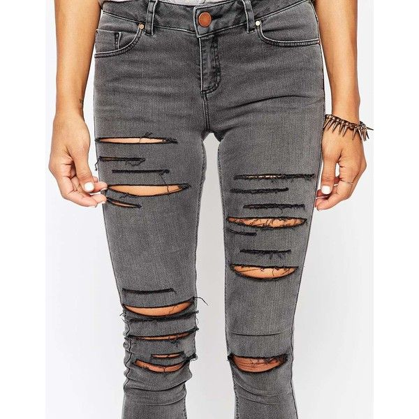 Gray skinny jeans, ASOS and Distressed jeans on Pinterest