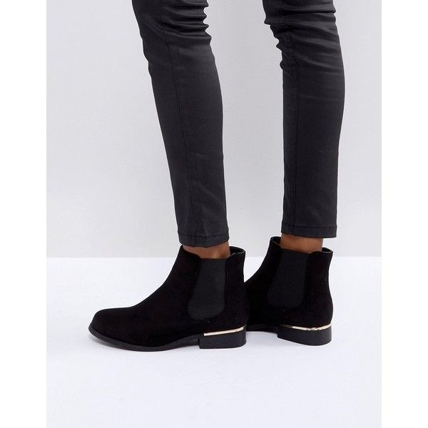 Truffle Collection Metal Trim Flat Chelsea Boot ($41) ❤ liked on Polyvore featuring shoes, boots, ankle booties, black, black flat booties, elastic boots, flat black boots, almond toe boots and black booties
